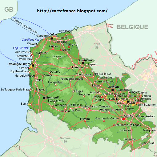 Carte Nord Pas de Calais Departement | Carte France ...