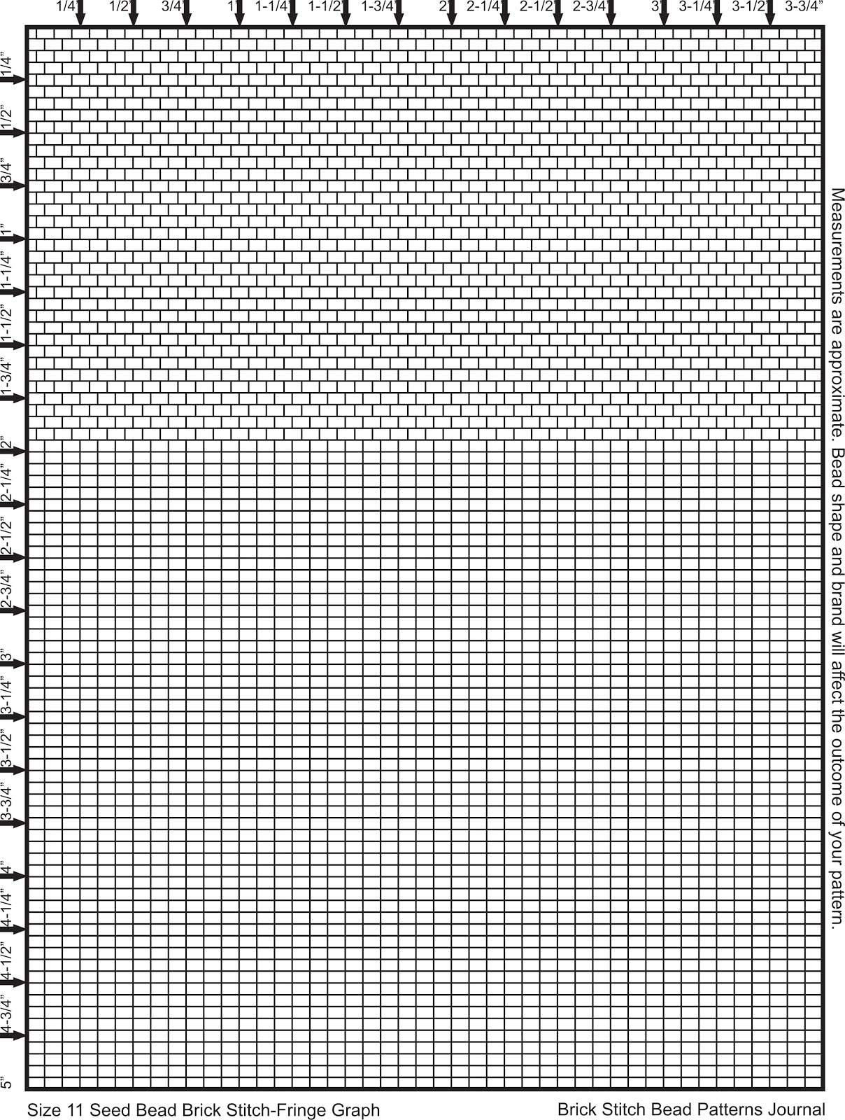 graphic about Bead Size Chart Printable called Brick Sch Bead Behavior Magazine: Dimension 11 Seed Bead Graph