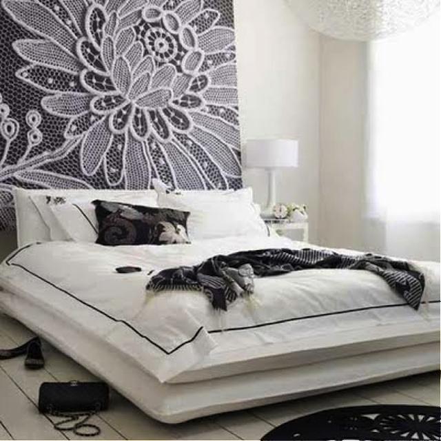 Cabeceira de cama preto e branco