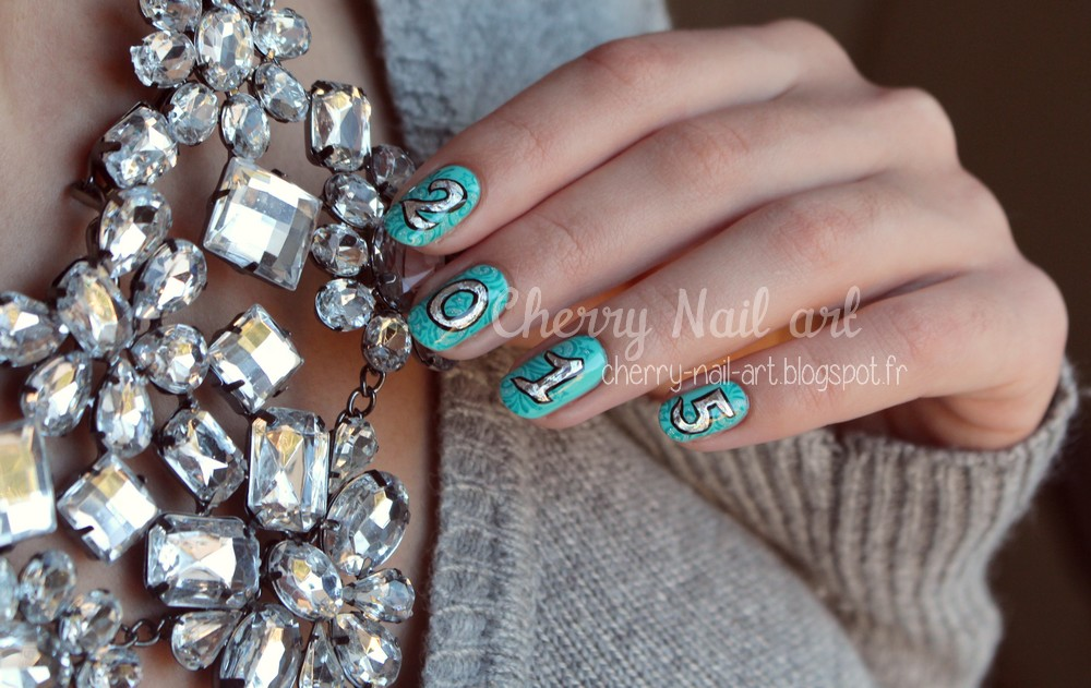 nail art nouvel an 2015 foil
