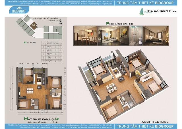 Căn hộ A2 tầng 7-25, diện tích 110m2