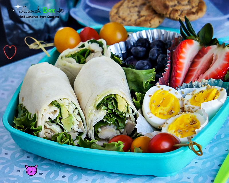 Homemade Easy Lunch Box for kids school or work: Ranch dressing Rotisserie chicken with Avocado Wraps