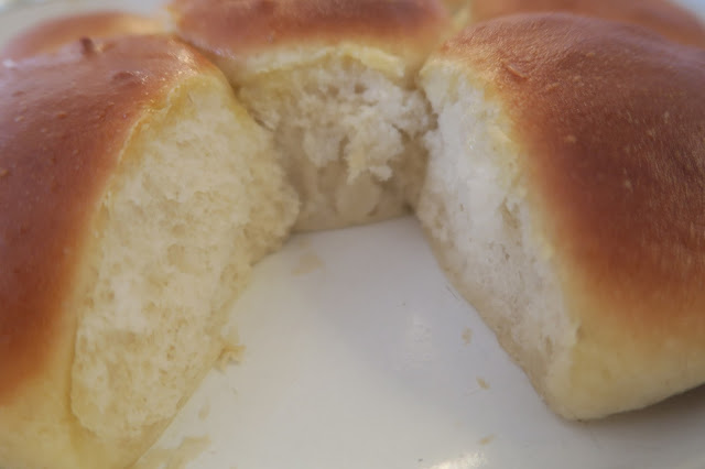 airy crumb of the bread rolls