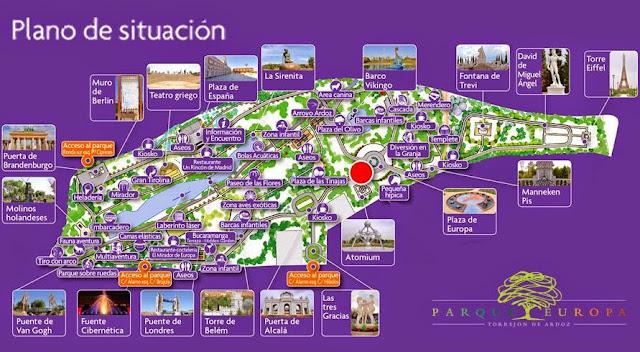 Plano del Parque Europa con monumentos