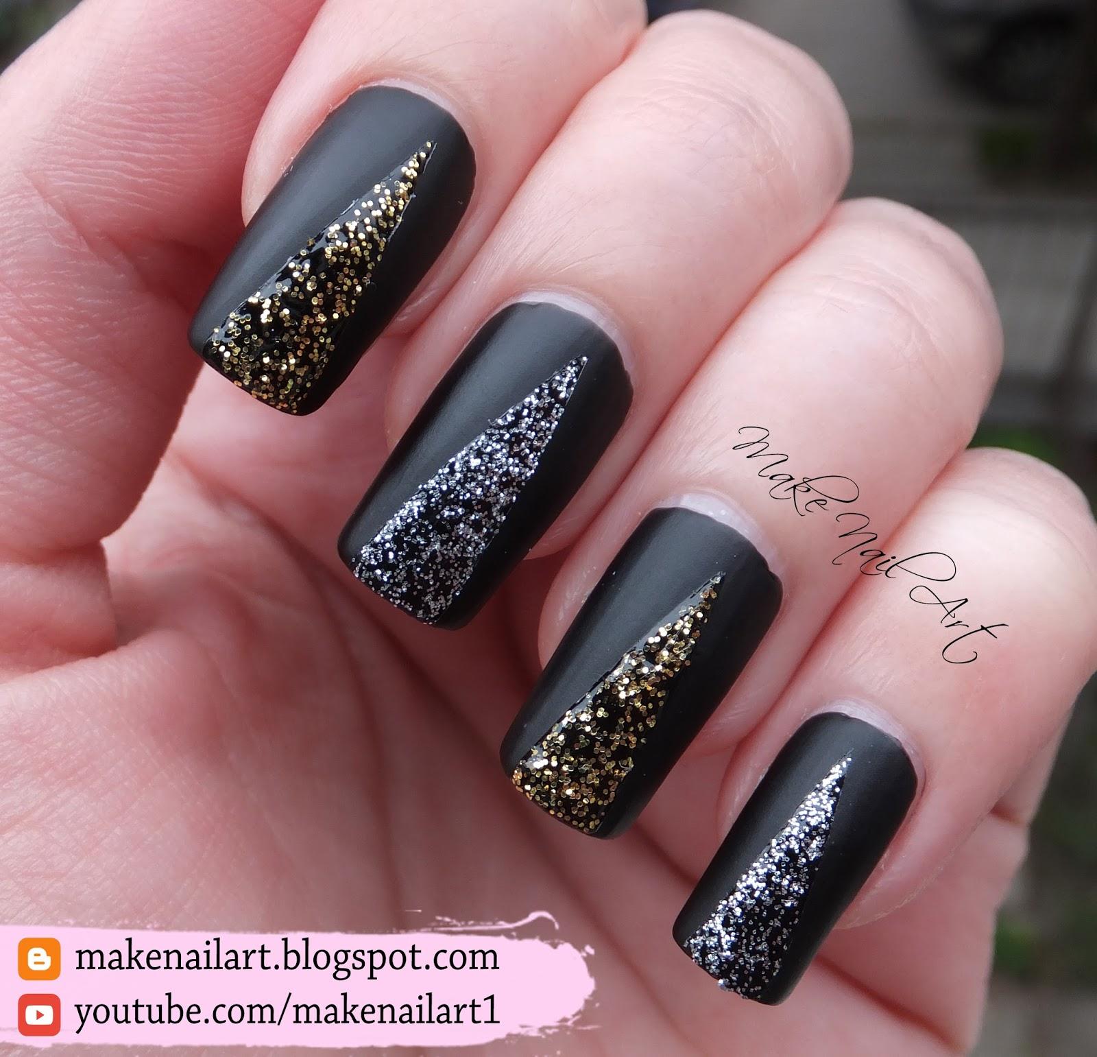 Make Nail Art: Easy Prom Nails - Black Matte With Glitter ...