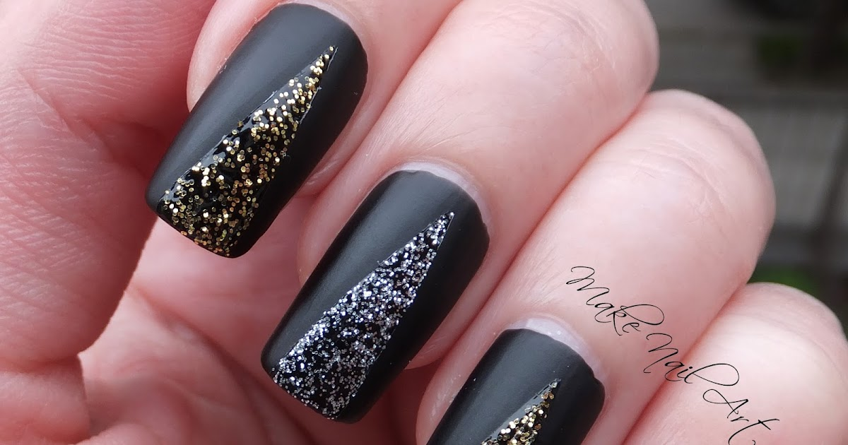 make nail art easy prom nails black matte with glitter