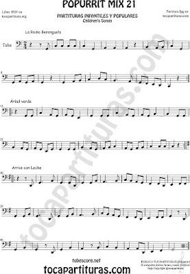 Partitura de Tuba Elicón (o Bajo Metal) La Reina Berenguela, Árbol Verde y Arroz con Leche Mix 21 Sheet Music for Tuba Music Scores