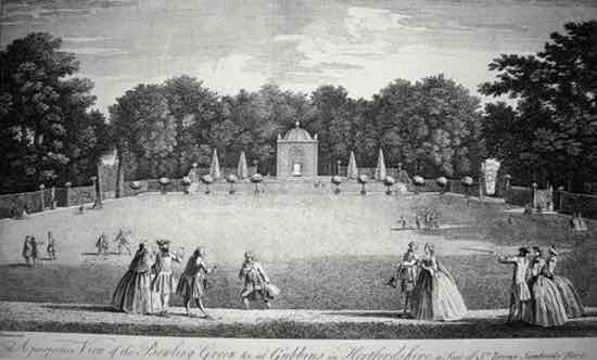 Figure 1. 'A perspective View of the Bowling Green &c. at Gubbins in Hertfordshire, a seat  of Sr. Jeremy Sambrooke Bart.', an engraving (1748) by Jean Baptiste Chatelain.  Courtesy: Hertfordshire Archives and Local Studies (Permission to use image pending)