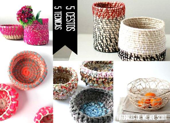 cestos con cuerda, con trapillo, con hilos, con globos,manualidades