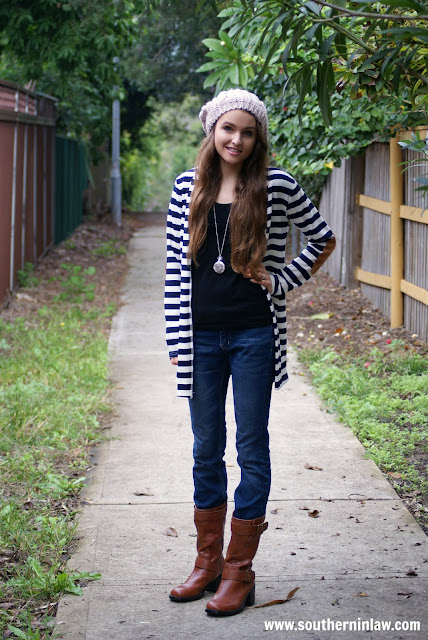 Real Girl Fashion - Fall Outfit Inspiration - Striped Cardigan, Black T-Shirt, Jeans, Boots, Cream Beanie Beret and Statement Locket Necklace