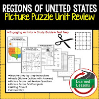 Regions of United States, World Geography Picture Puzzle BUNDLE, Test Prep, Unit Review, Study Guide