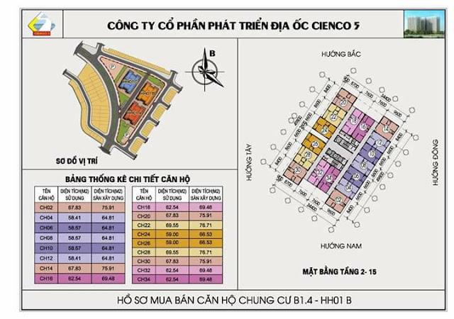 Mặt bằng tầng 2 đến tầng 5 chung cư b1,4-hh01b thanh hà