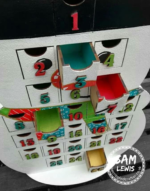 MDF Snowman Advent Calendar by Sam Lewis AKA The Crippled Crafter.