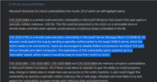 Cảnh báo - Lỗ hổng bảo mật nghiêm trọng Windows SMBv3 'Wormable' bị tiết lộ - CyberSec365.org