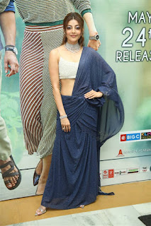Kajal Agarwal In Blue Lehenga Choli At Sita Movie Pre Release (2)