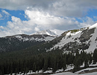 The tallest mountain in Colorado, Mt. Elbert, covered in spring snow