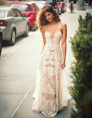 vestido largo blanco elegante de moda 2018