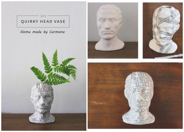 manualidades, cabezas floreros, bustos para cascos musicales, diys
