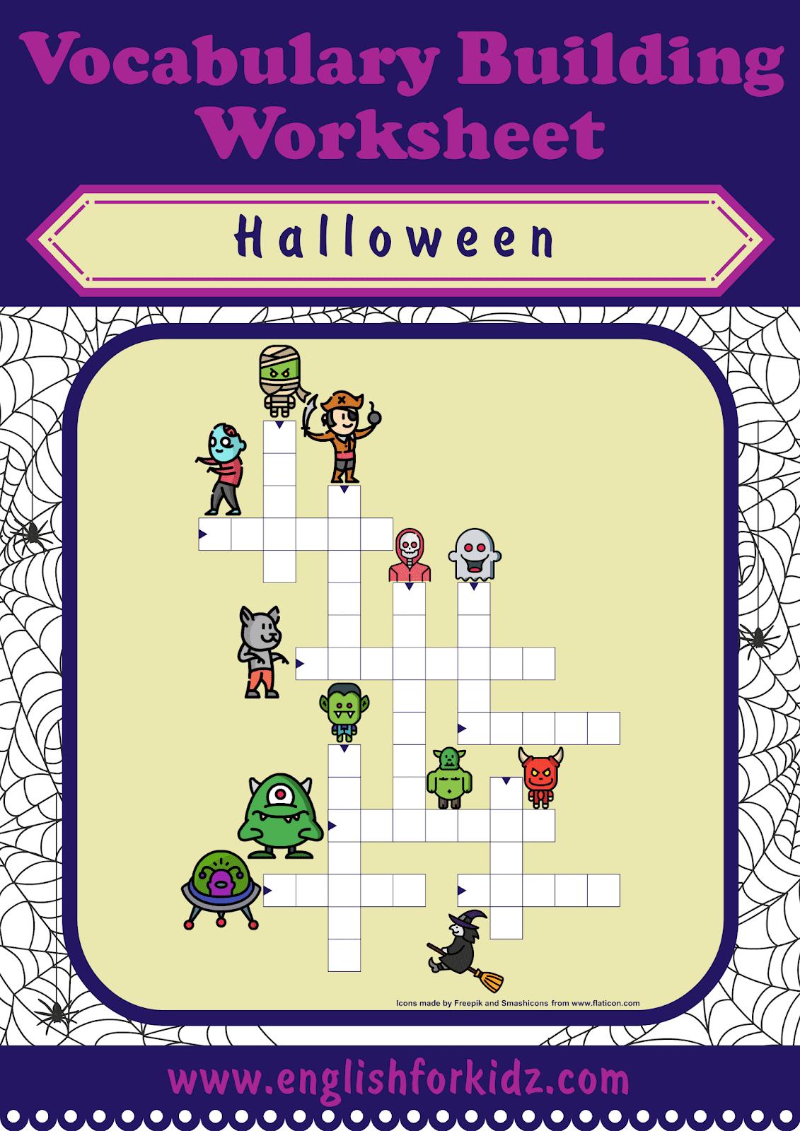 English For Kids Step By Step Printable Halloween