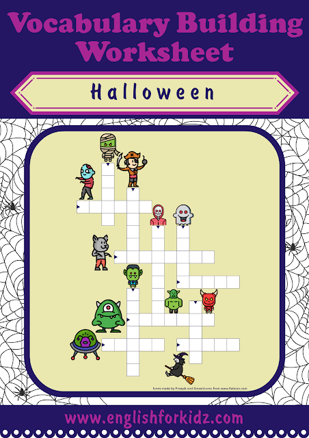 Halloween crossword - printable ESL worksheets