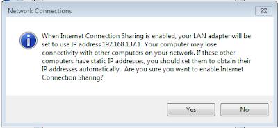 Cara sharing Koneksi Internet modem