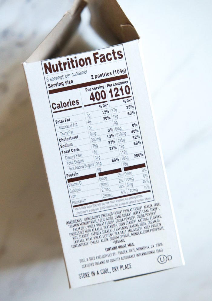 Trader Joe's Hot Cocoa Frosted Toaster Pastries nutrition facts