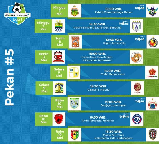 Jadwal Liga 1 Pekan Kelima: Banyak Tontonan Menarik Tak Ditayangkan