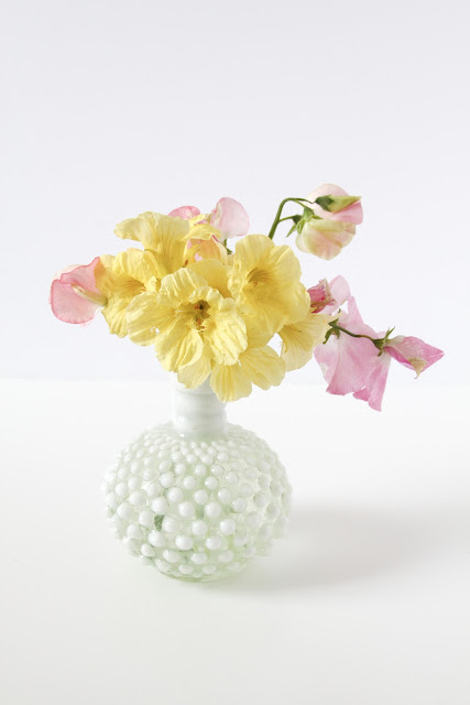 sweet peas, nasturtiums, pink and yellow, flower arrangements, milk glass vase, Anne Butera, My Giant Strawberry