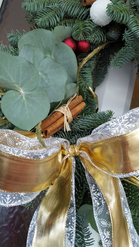 A handmade festive Christmas wreath.
