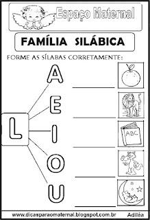 Família silábica alfabetização letra L