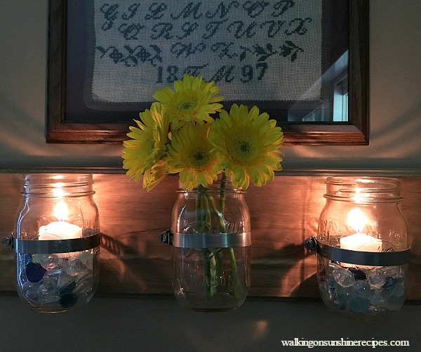 Mason Jar Organizer filled with fresh flowers.