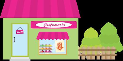 Loja de cosméticos com telhado rosa, paredes verdes, cerca e vitrine