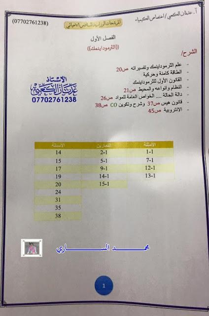 مرشحات الكيمياء للسادس العلمي الفرع الاحيائي للأستاذ عدنان الكعبي 2017