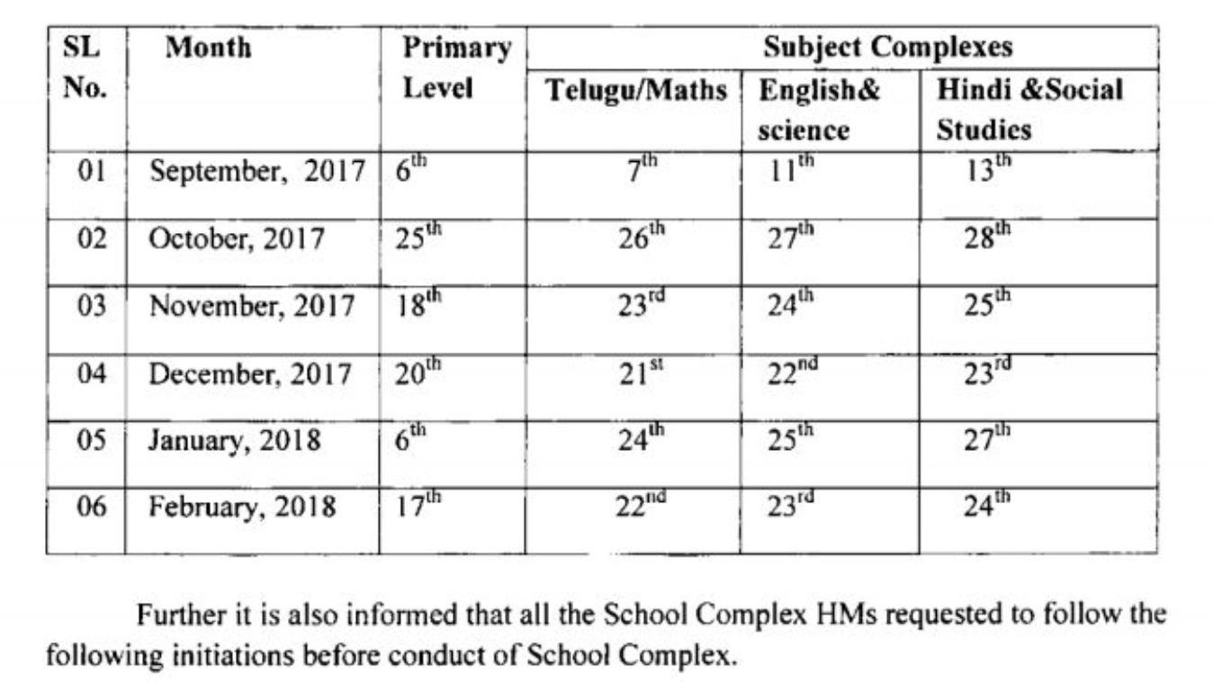 AP School Complex Meetings Schedule for Primary UP and HS Academic year 2017-18