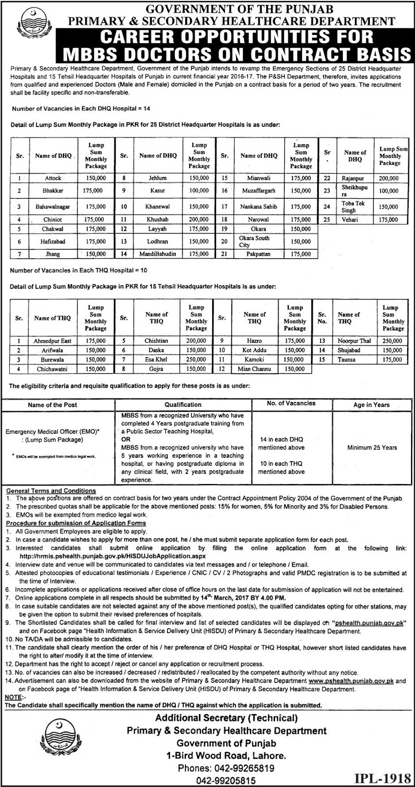 MBBS Doctors Jobs in Primary and Secondary Healthcare Department