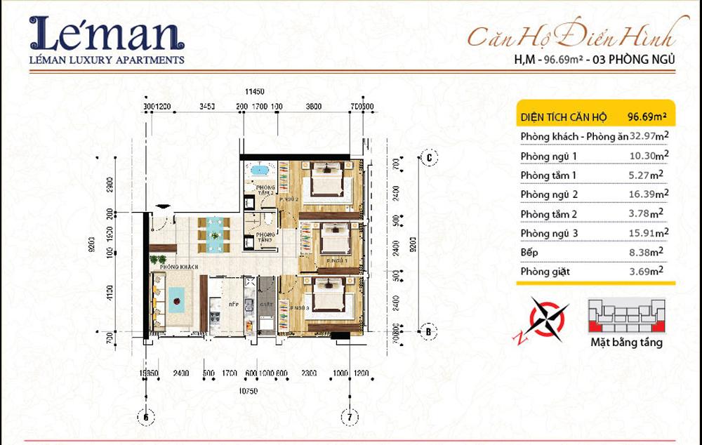 Mặt bằng căn hộ Leman C T Plaza 3 phòng ngủ | DT: 96.69m2