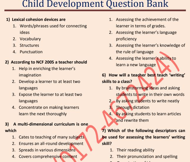 Child Development Question Bank for CTET UPTET Free Download