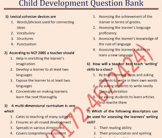 Child Development Question Bank