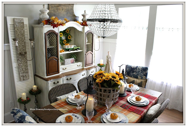 French Farmhouse Style Fall Dining Room-French Lighting-Pottery Barn-Blanket Table Runner-Pumpkins-Basket of Sunflowers-From My Front Porch To Yours