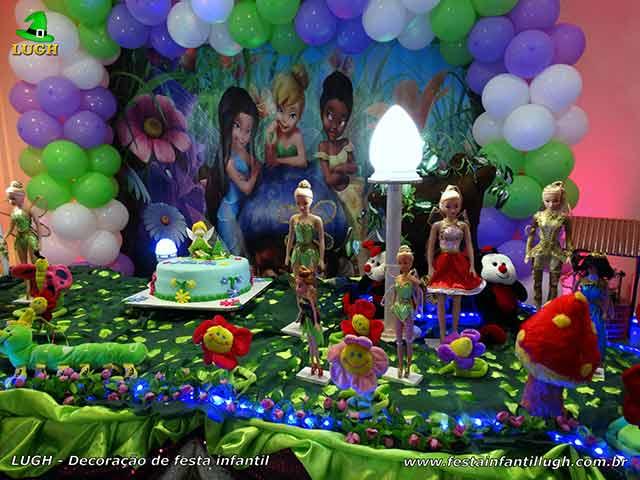 Decoração Tinker Bell, mesa temática de aniversário infantil
