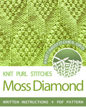 Reversible Knitting. #howtoknit the Moss Diamond and Lozenge stitch. FREE written instructions, PDF knitting pattern.  #knittingstitches #knitting #knigpurl