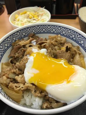 Yoshinoya poached eggs beef bowl japan