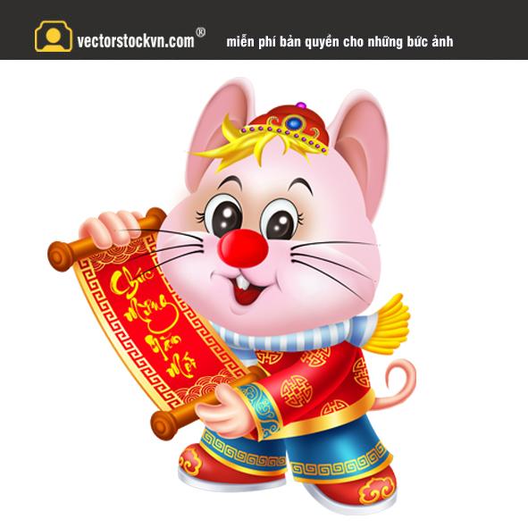 Vector con chuột vàng 2020