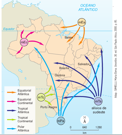 Resultado de imagem para massas de ar no brasil