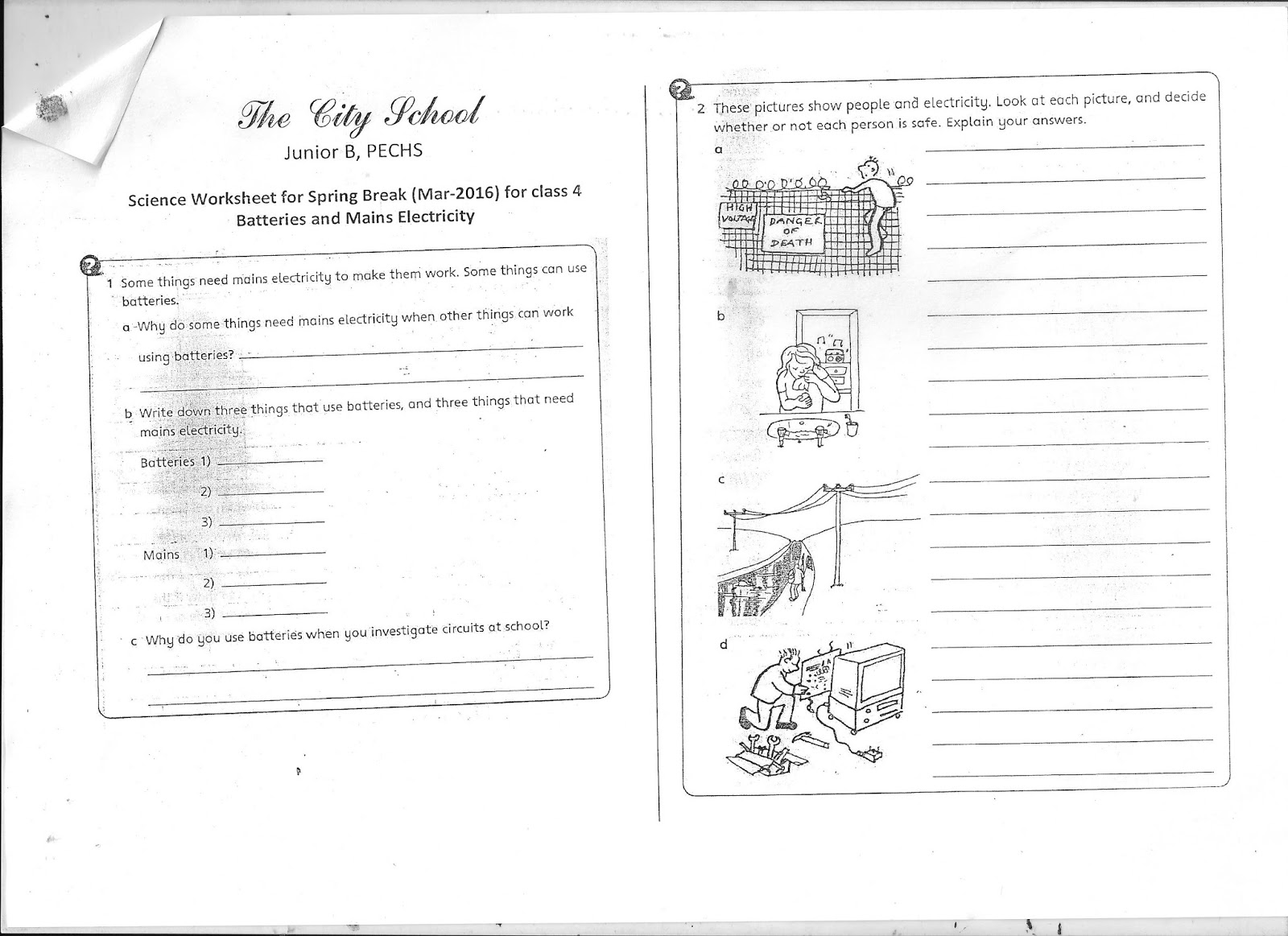Worksheet Science Class 3