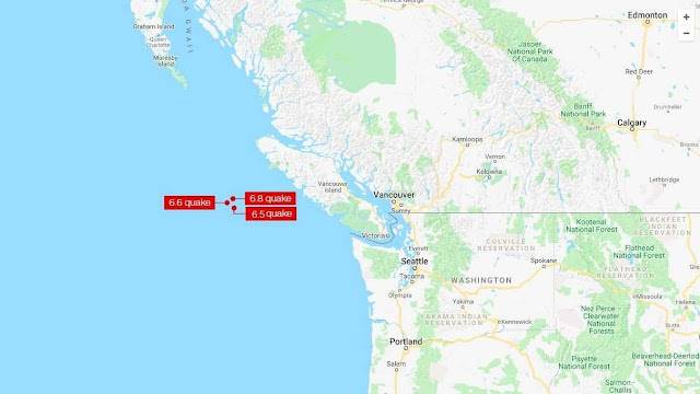 Several Powerful Earthquakes Strike Off the Shore of Canada