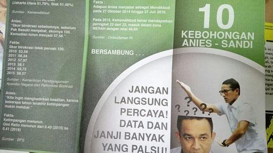brosur 10 Kebohongan Anies-Sandi