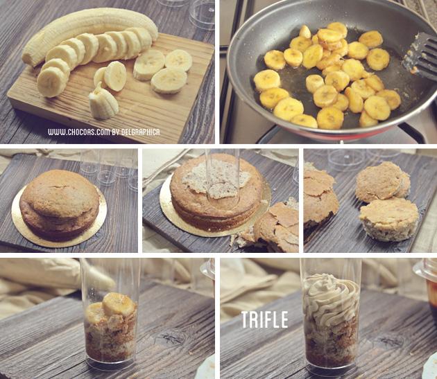 Trifle de bizcocho de plátabo y crema de toffee - paso a paso