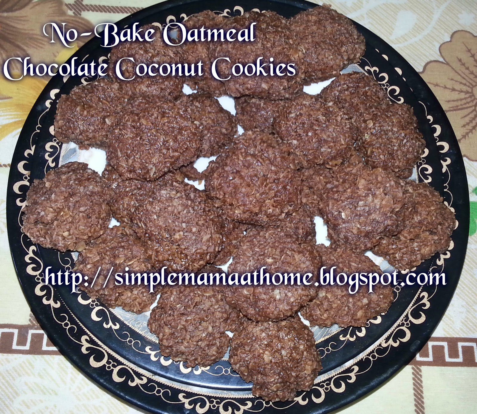 No-Bake Oatmeal Chocolate Coconut Cookies