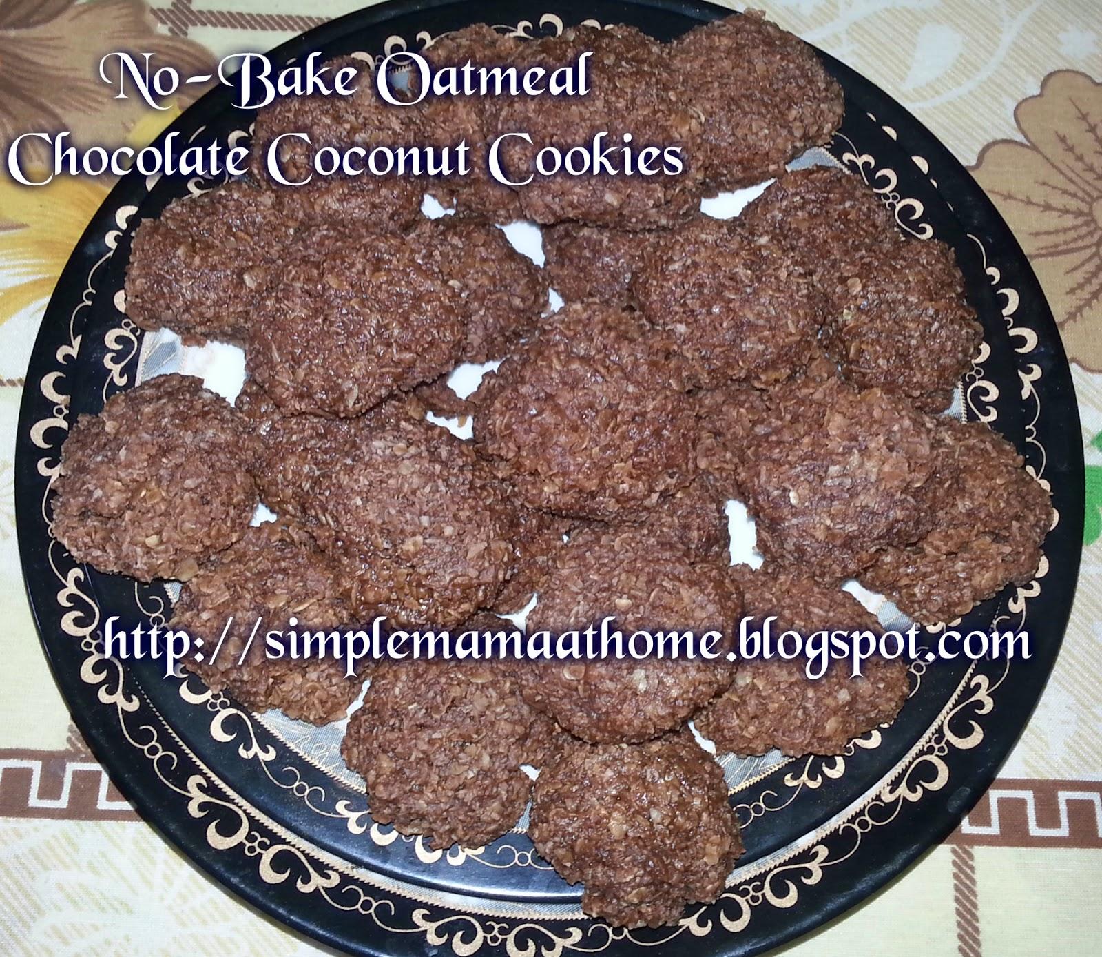 No-Bake Oatmeal Chocolate Coconut Cookies